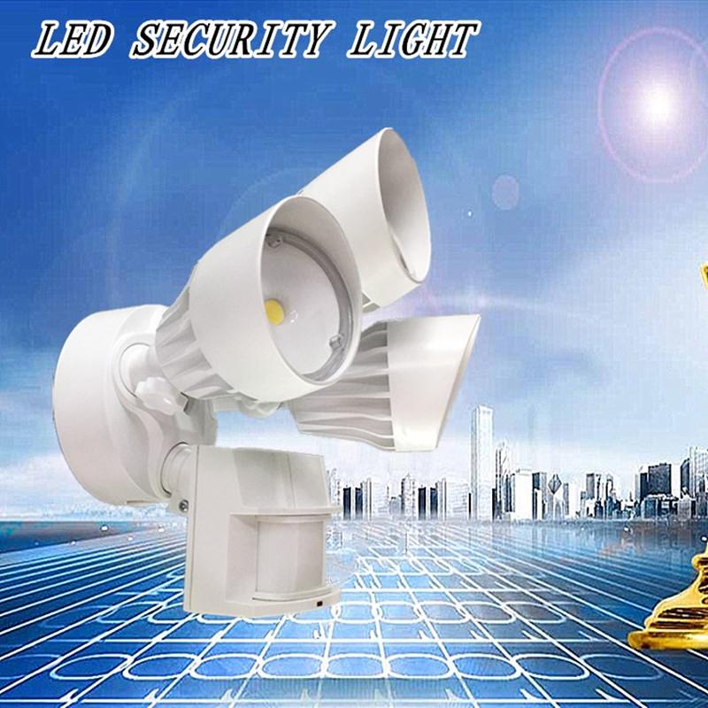 모션 센서, 30W, 3 머리, 흰색, 모션 빛 LED 야외 홍수 보안 라이트