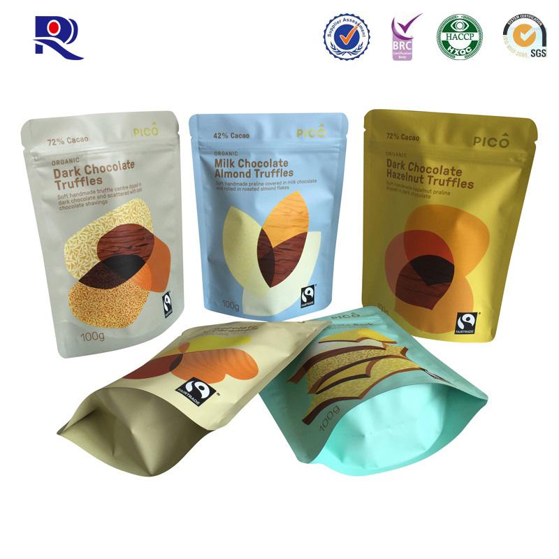 초콜렛 또는 다른 음식 포장을위한 지퍼를 가진 알루미늄 포일 일어 서기 주머니 100g 250g 500g etc.