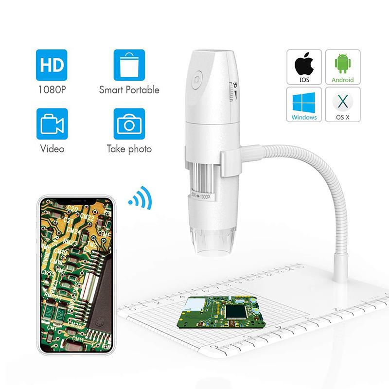 WiFi 현미경 50X 1000X 무선 디지털 현미경, 유연한 팔 관측 스탠드 1080p HD 2.0 MP 8 LED 카메라, 안 드 로이드 iOS PC에 대 한 미니 휴대용 현미경