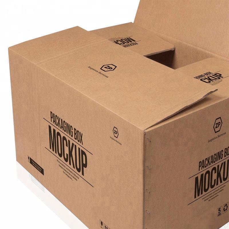 뜨거운 판매 사용자 정의 큰 5 층 로고 브랜드 인쇄 크래프트 종이 배송 배달 큰 판지 상자